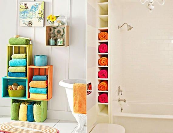 coole farbgestaltung badezimmer mit bunten hand- und badetüchern oder mit farbigem tuchregal aus holzkisten