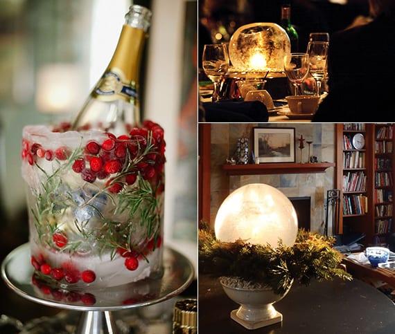 flaschenkühler und telichthalter basteln aus eis für weihnachtliche tischdeko