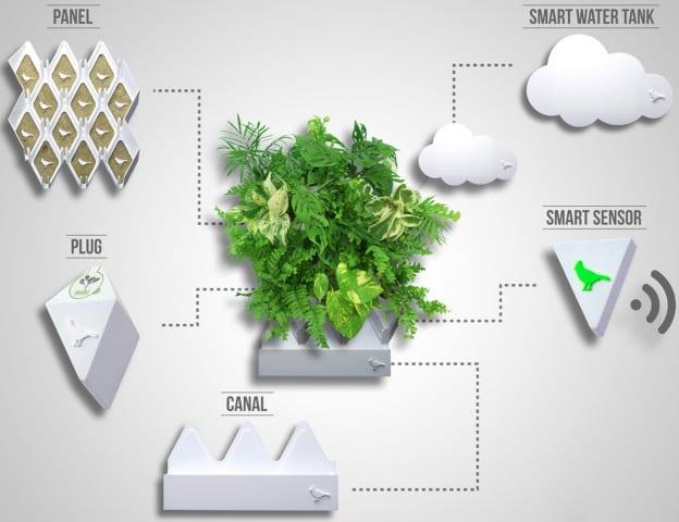 go green mit modernem wandbegrünung-System_wandpaneel mit wassertank und biofoam-sammenhalter für eigenes innenraum-ökosystem