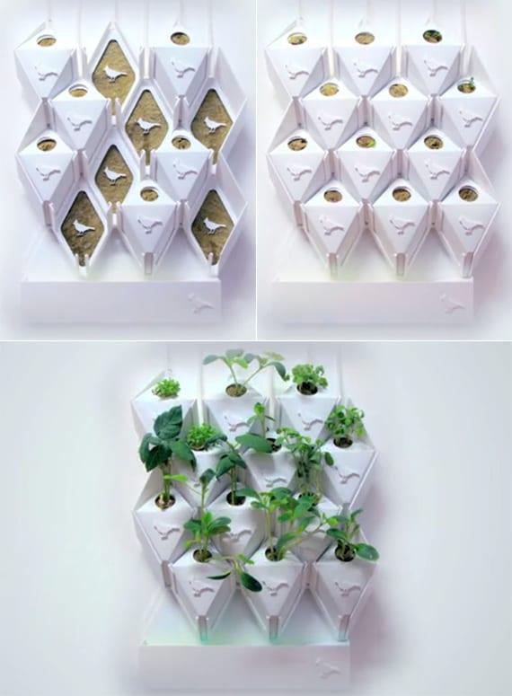 go green mit intelligentem wandgarten_moderne wandgestaltung mit modularem Wandsystem aus wandpaneel, Biofoam-Pflanzenboxen mit sensoren und intelligentem wassertank