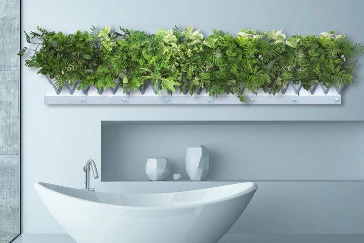 kreative wohnideen für moderne Wandgestaltung im Bad mit intelligentem vertikalem garten