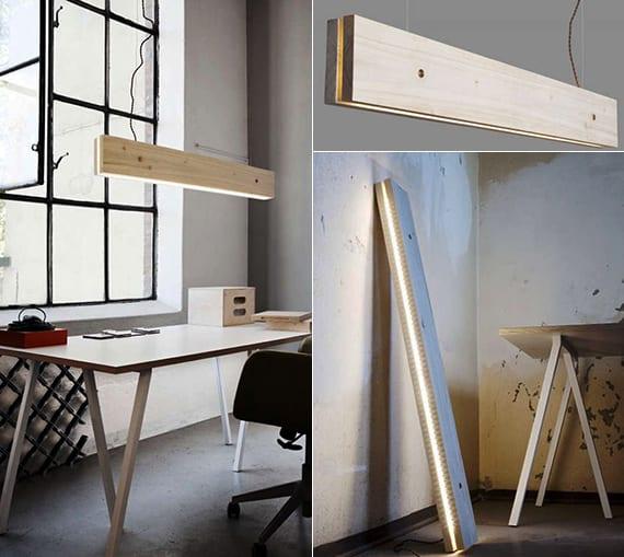 coole Hängeleuchte aus holz und LED-Streifen für moderne Raumgestaltung mit moderner Lampe