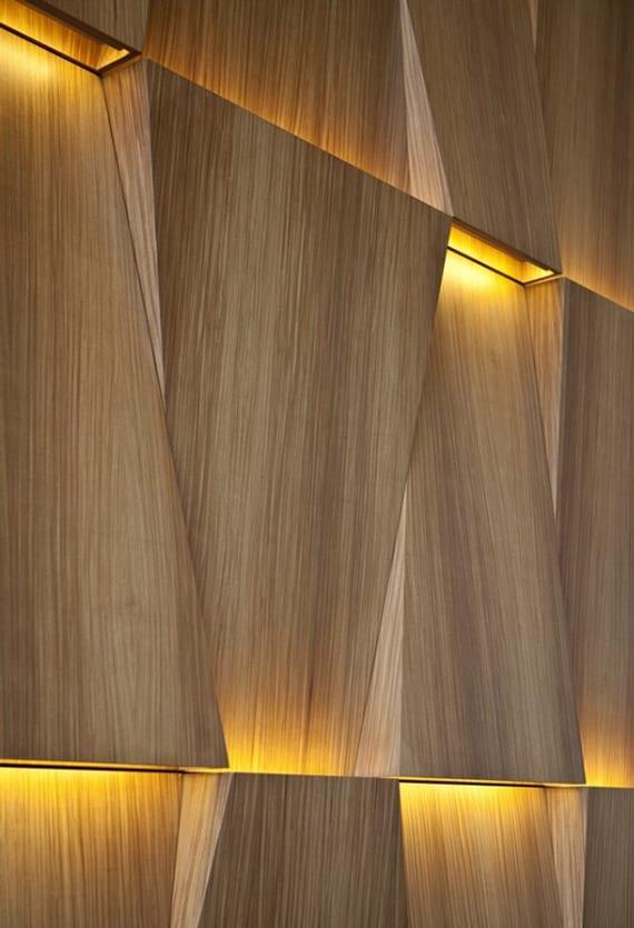 wände kreativ gestalten mit licht, modernen wandleuchten und 3D holzwandverkleidung