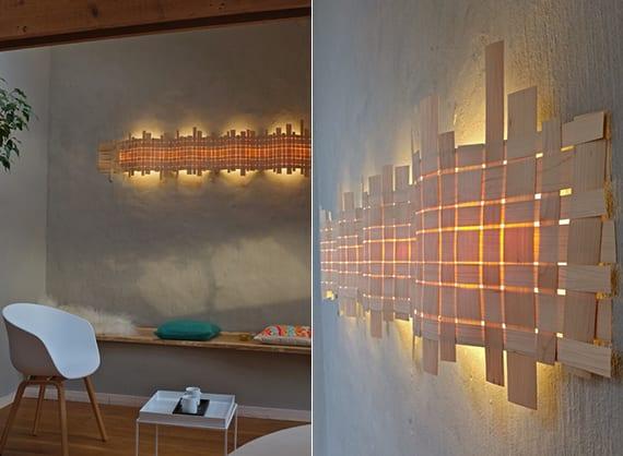 wellenförmige wandlampe mit holzwebstruktur für indirekte wandbeleuchtung und kreativen lichtakzent im raum