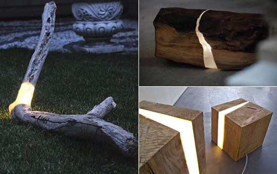 garten beleuchten und gestalten mit modernen lampen aus holz und harz