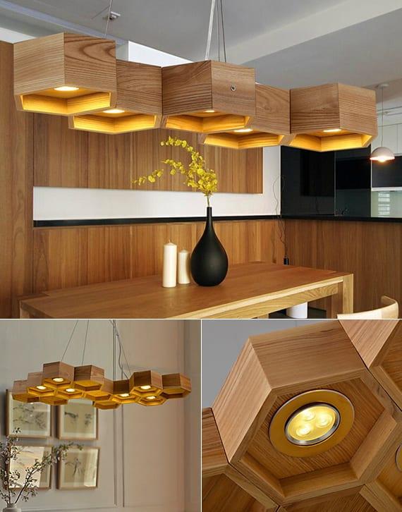 moderne pendellampen aus holz für moderne esszimmereinrichtung
