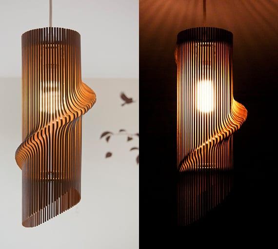 moderne Pendellampe aus holz mit außergewöhnlichem lampendesign