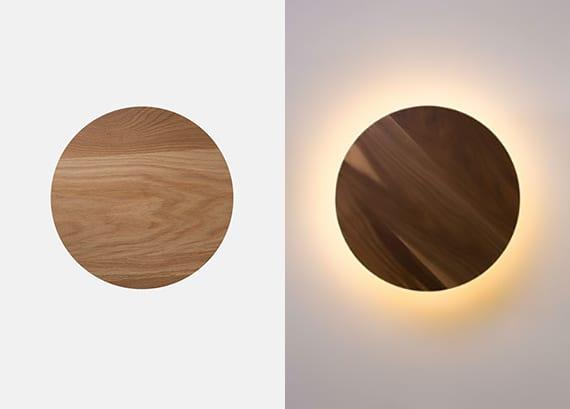 wand dekorieren und beleuchten mit modernen wandlampen aus eichenholz und nussbaum