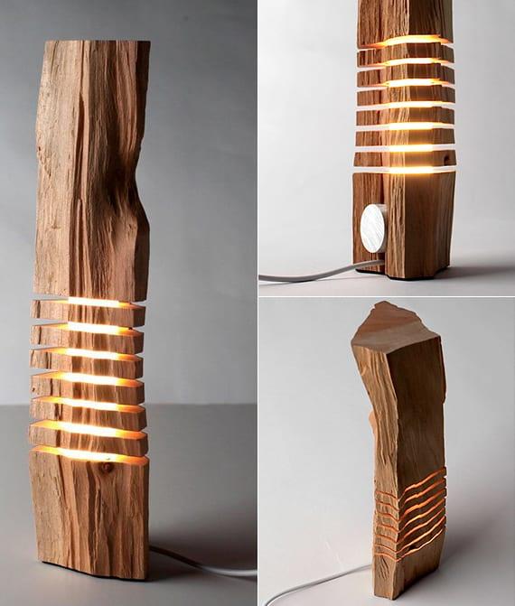 moderne lichtgestaltug und zimmerdekoration mit holzskulptur-Lampen