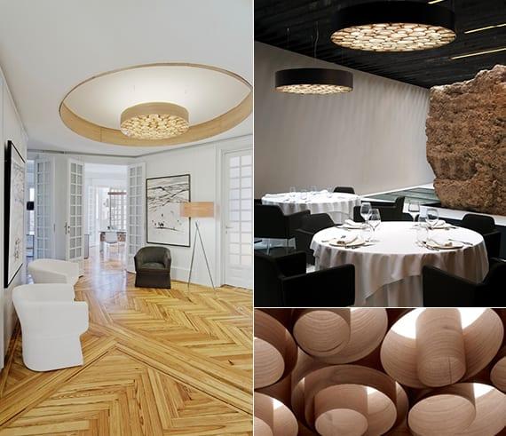 runder kronleuchter aus holz in verschiedenen farbe für moderne raumgestaltung mit licht und lampen