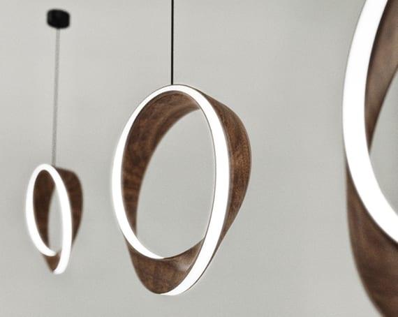 moderne ringförmige pendelleuchten aus holz für moderne lichtgestaltung mit LEDs