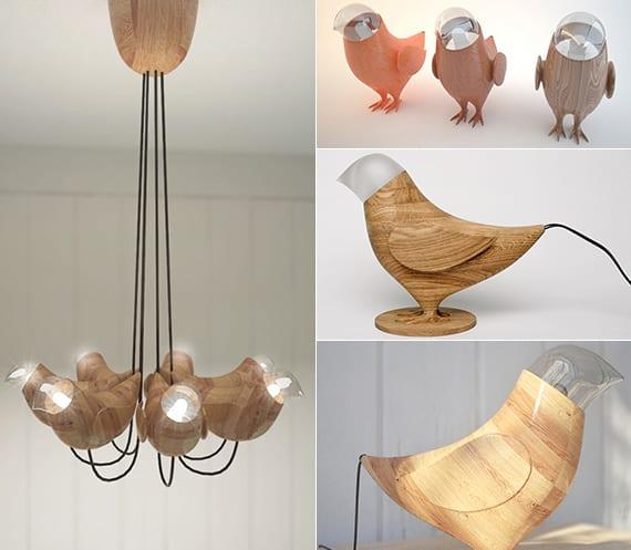 kinderzimmer modern gestalten mit kronleuchter und tischlampe aus holz und glas in form von vögeln