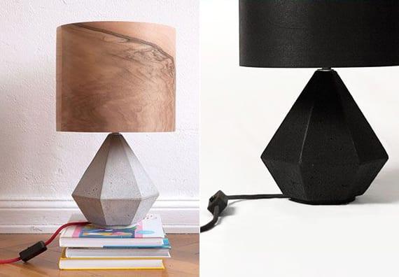 moderne tischlampe aus holz und beton