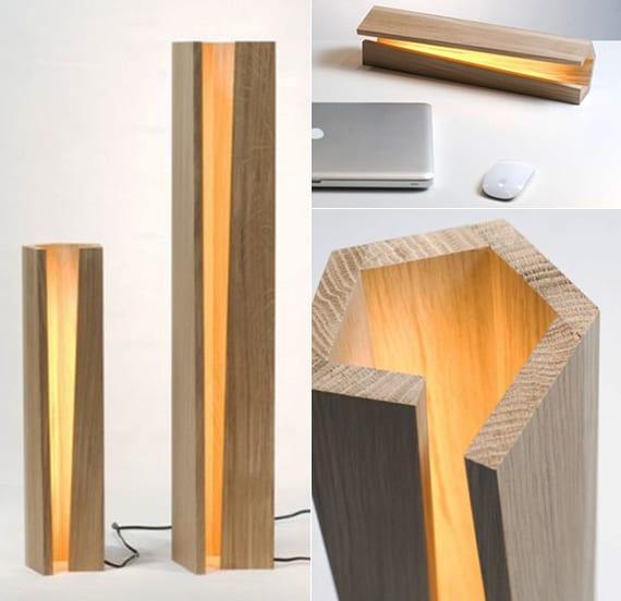 moderne holzlampe mit fünfeckigem querschnitt für attraktive raum- und tischbeleuchtung