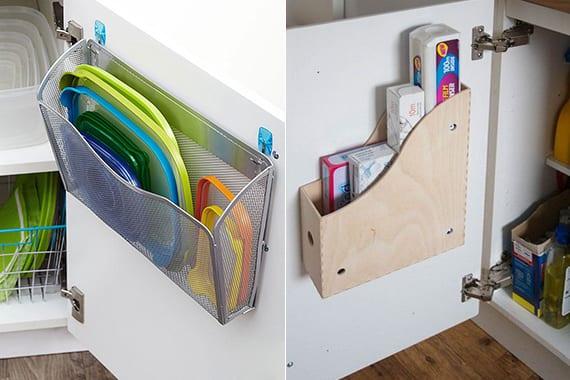 coole idee für plastikdeckel und küchenfolien in ordnung halten