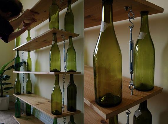 coole regale selber bauen aus holzplatten und weinflaschen