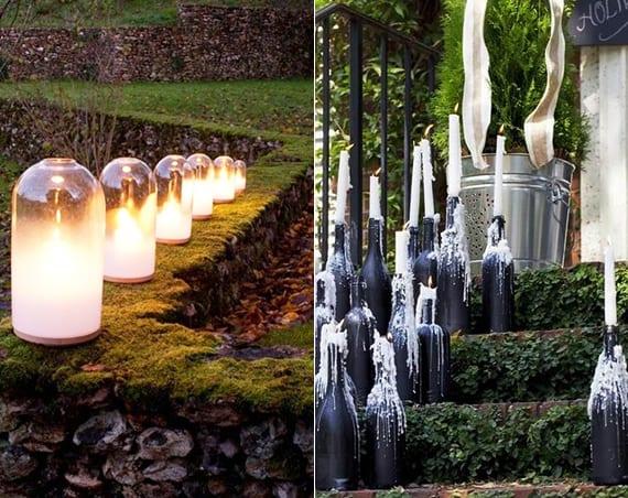 gartengestaltungsideen mit diy Windlichter und diy kerzenhalter aus weinflaschen
