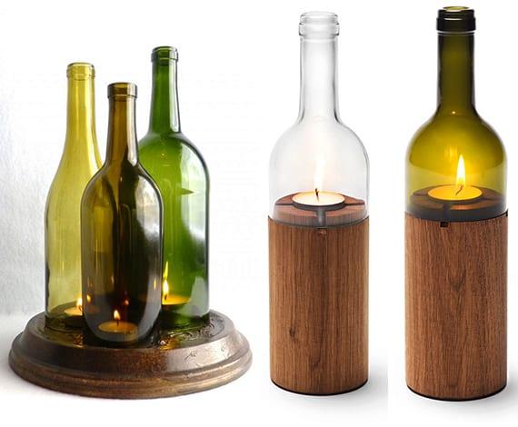 weinflaschen upcycling ideen für romantische kerzendeko mit modernen DIY Teelichthalter