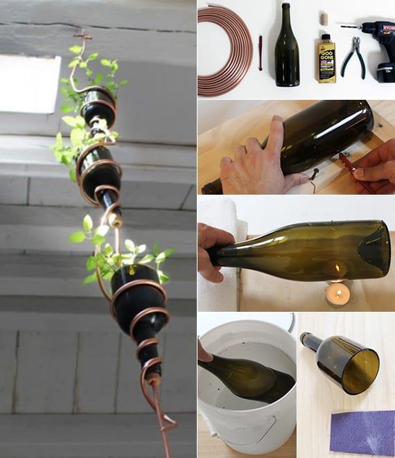 kräutergarten selber machen als hängender garten aus weinflaschen