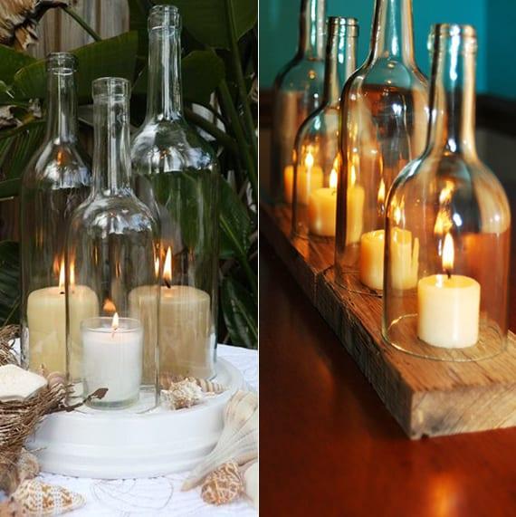 originelle Dekoideen mit Kerzen und Weinflaschen_kerzenhalter selber machen