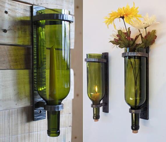 wände im flur dekorieren mit DIY Wand-Kerzenhalter aus Weinflaschen
