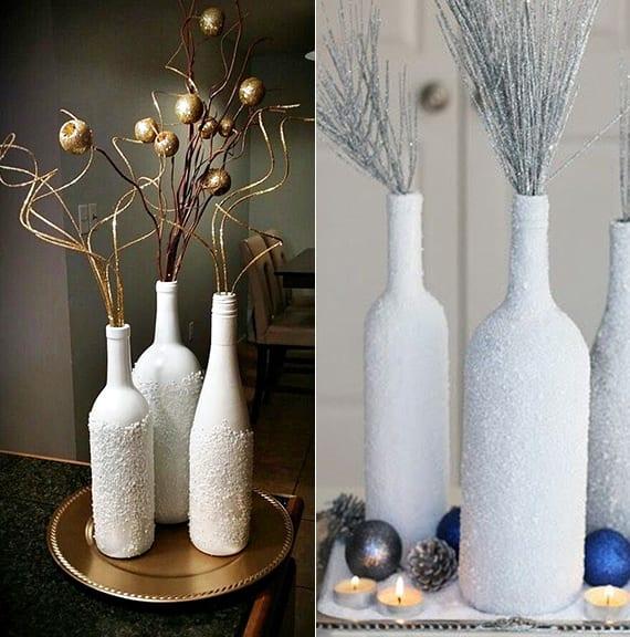 coole bastelidee für schneeweiße winterdeko mit weinflaschen