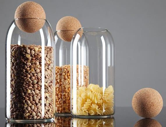 moderne glas pasta-container basteln aus weinflaschen