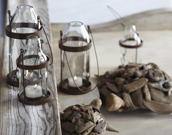 coole bastelideen für diy vintage- teelichthalter aus weißen glasflaschen