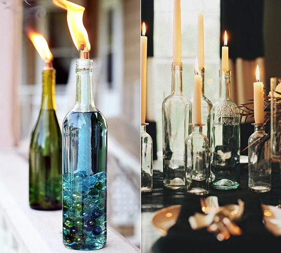 Das Upcycling Von Weinflaschen In Leuchtender Tischdeko