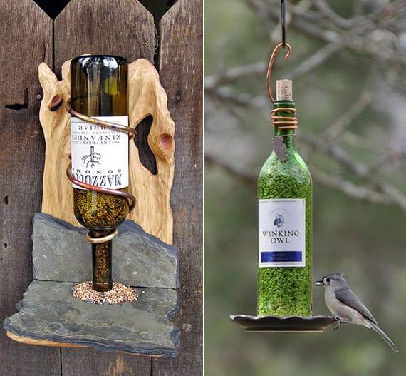 kreative bastelideen mit glasflaschen für diy vogelfutterspender