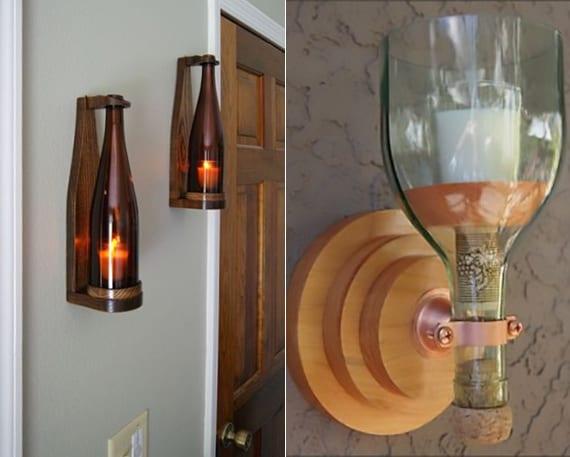 wand-kerzenhalter selber basteln aus weinflaschen als coole wand- und lichtdeko idee