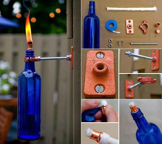 kreatives upcycling von weinflaschen in wandfackeln_garten beleuchtungsideen mit selbstgemachter fackel aus glasflasche