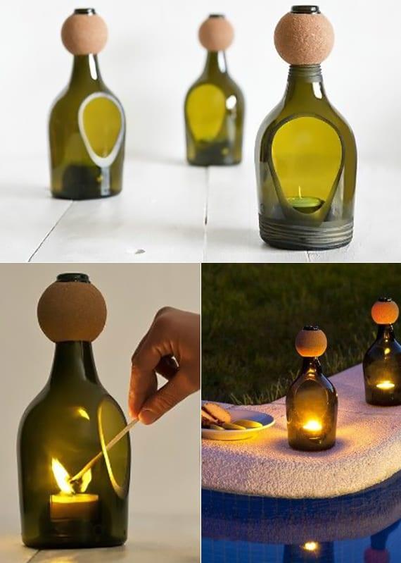 coole dekoideen mit kerzen_grüne glasflaschen wiederverwerten in modernen teelichthaltern