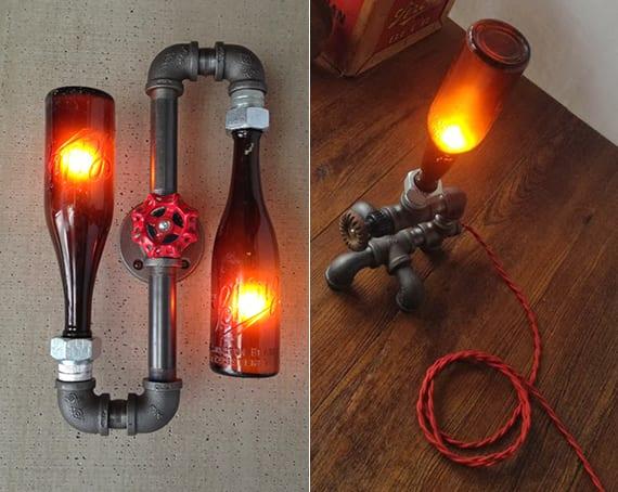 originelle Wand- und Tischlampe bauen aus Metall-Wasserrohren