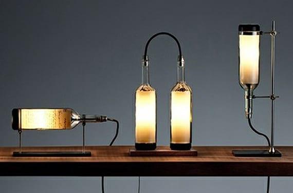 coole tischlampen selber bauen aus weinflaschen