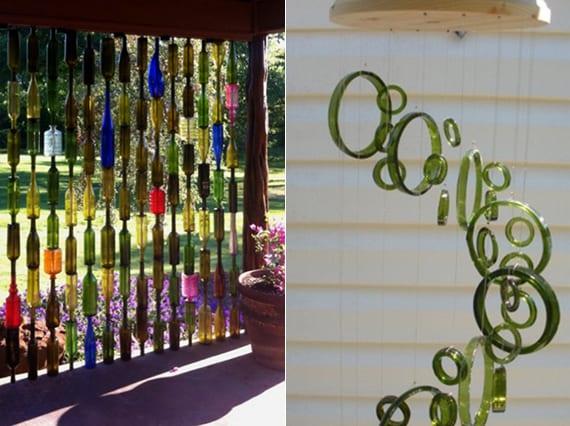 weinflaschen upcycling-ideen für diy gartendeko_garten gestalten mit DIY trennwand und diy windspiel aus weinflaschen