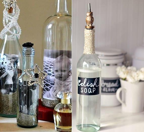 coole glasflaschen upcycling-ideen für DIY Foto-Geschenk und DIY Seifenspender