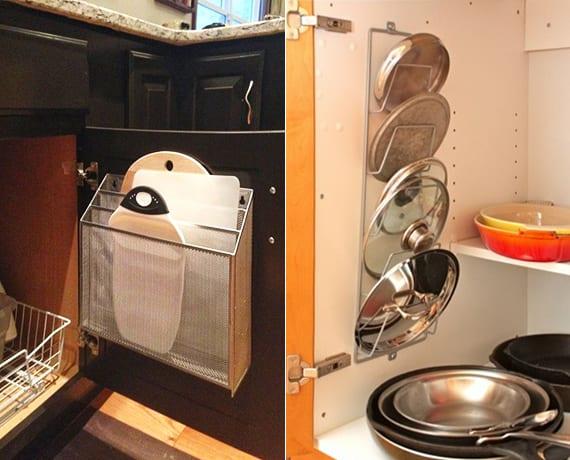 küche aufräumen und in ordnung halten_schneidebretter und topfdeckel in zeitschriftsammler organisieren