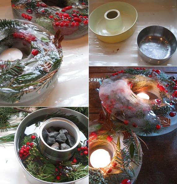 coole weihnachtliche tischdeko mit DIY Teelichthaltern aus eis, tannengrün und roten beeren