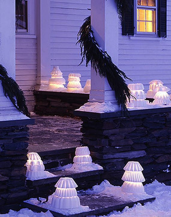 winter laterne basteln aus schnee in kuchenbackform