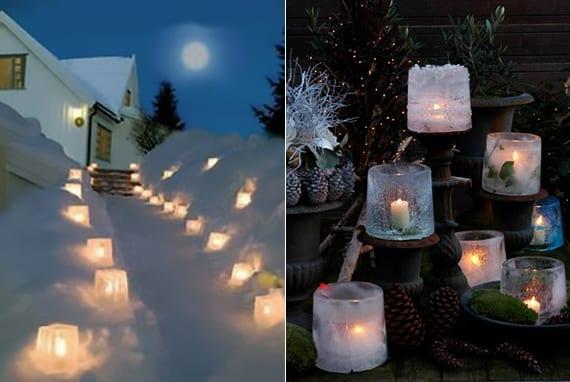 weihnachtliche tischdeko und gartenweg beleuchtung mit eislaternen