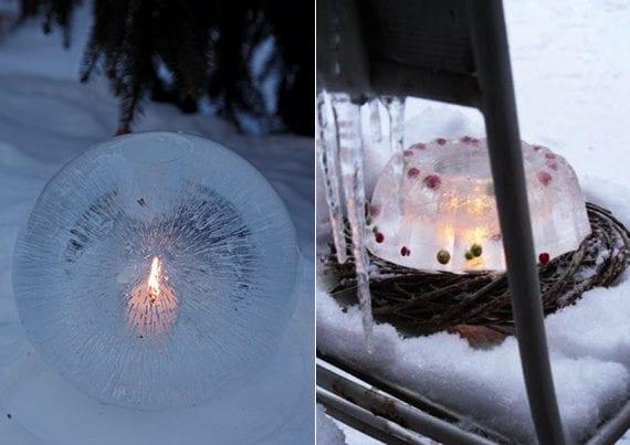 coole winterdeko ideen mit eislaternen und diy eis-teelichthalter in kuchenbackform