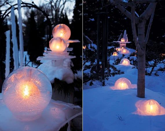 coole garten ideen für diy gartendeko_eiskugel-laterne basteln als DIY winterdeko