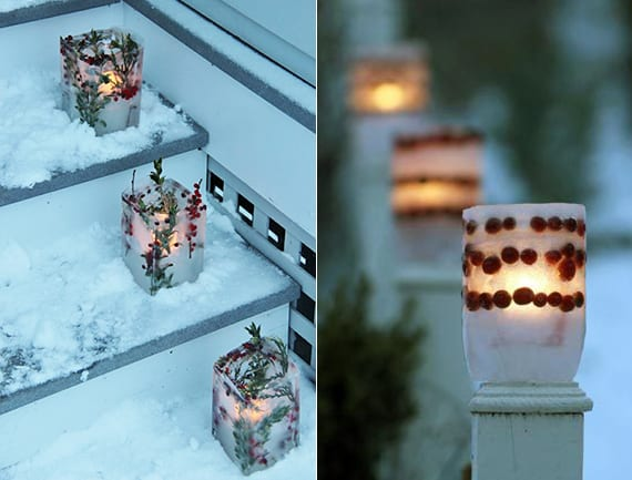 außentreppe winterlich dekorieren mit eislaternen