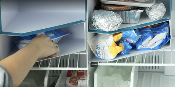 kühlschrank aufräumen mittels zeitschriftensammler als aufbewahrungsboxen