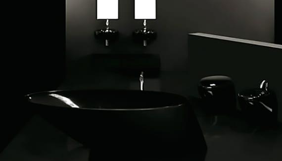 schicke badgestaltung komplett in schwarz mit moderner freistehenden Designer-Badewanne schwarz