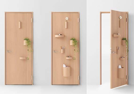 wohnung in ornung halten durch innovative Holztür mit Magnet für Behälter, vasen und blumentöpfen