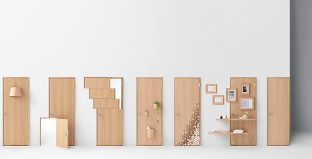 Eine Tür mit kreativem Design und weiterer Funktion