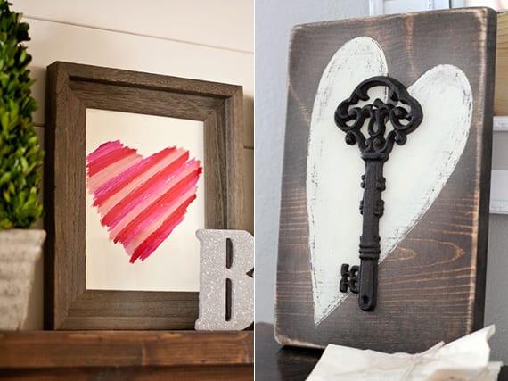 rustikale Deko mit Herzmotiv selber machen aus holz als coole valentinstaggeschenkidee zum selber machen