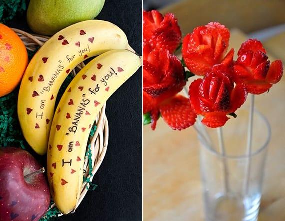 coole alternative für valentinskarte aus bananen und blumenstrauß aus erdbeeren